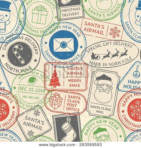 Christmas Postal Pattern. Santa Claus Postmark Cachet, Winter Holiday Postage Card Stamp And North P