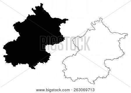 Beijing (Administrative divisions of China, China, People's Republic of China, PRC) map vector illustration, scribble sketch Peking map poster