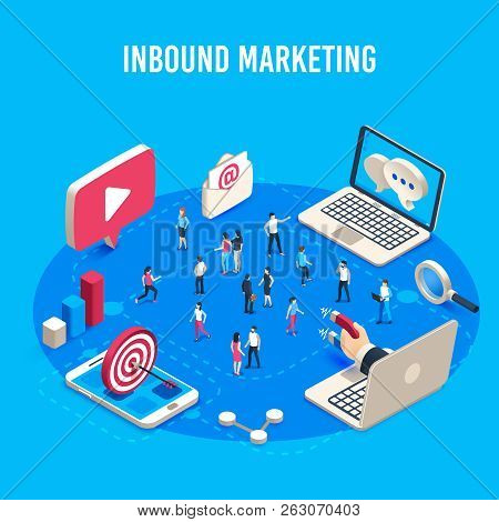 Inbound Marketing Isometric. Online Mass Market Ads, Business Target Sales Ad And Offline Sale Advan
