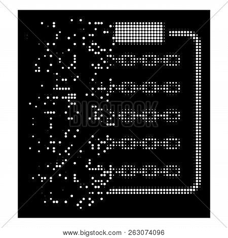 Blockchain List Page Icon With Dissolving Effect On Black Background. White Particles Are Organized