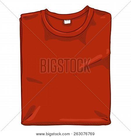 Vector Single Cartoon Illustration - Folded Red T-shirt