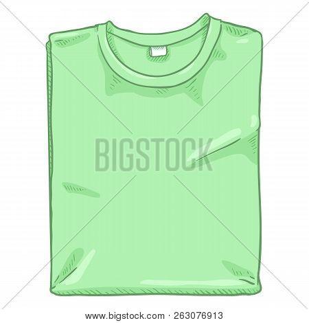 Vector Single Cartoon Illustration - Folded Light Green T-shirt