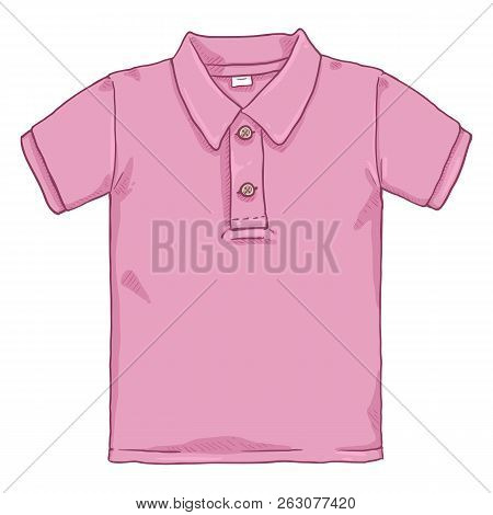 Vector Single Cartoon Illustration - Pink Polo Shirt