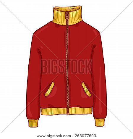Vector Single Cartoon Illustration - Red Sport Jacket With Zipper