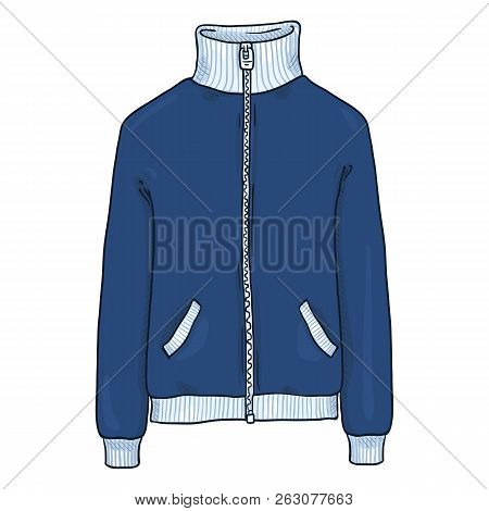 Vector Single Cartoon Illustration - Blue Sport Jacket With Zipper