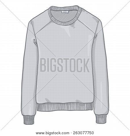Vector Single Cartoon Illustration - Light Gray Sweatshirt