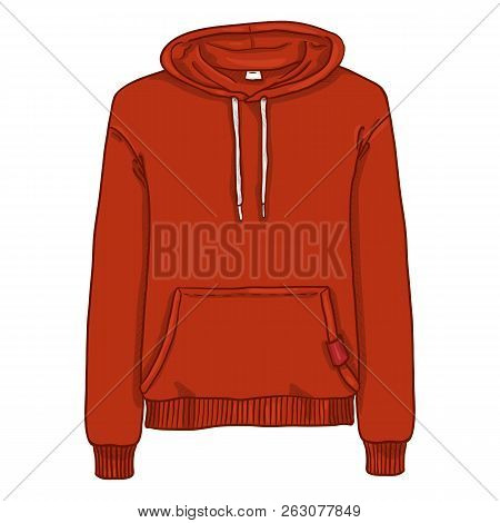 Vector Single Cartoon Illustration - Red Hoodie Sweatshirt