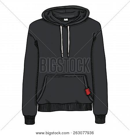 Vector Single Cartoon Illustration - Black Hoodie Sweatshirt