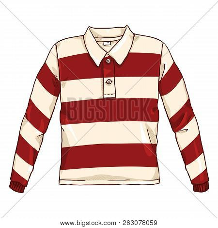 Vector Single Cartoon Color Illustration - Red And White Striped Rugby Shirt