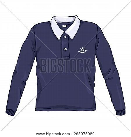Vector Single Cartoon Color Illustration - Blue Rugby Shirt