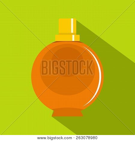 Elegant Woman Perfume Orange Round Glass Bottle Icon. Flat Illustration Of Elegant Woman Perfume Ora
