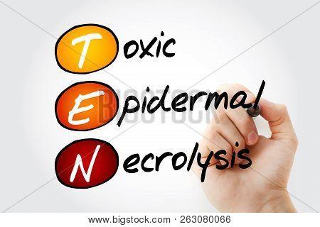 TEN - Toxic Epidermal Necrolysis, acronym health concept background poster