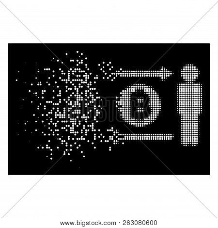 People Exchange Bitcoin Coin Icon With Dispersed Style On Black Background. White Particles Are Orga