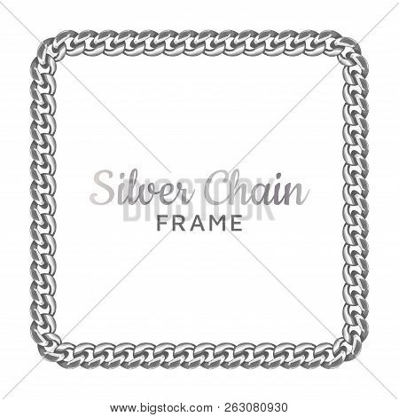 Silver Chain Square Border Frame. Silver Chain Square Border Frame. Rectangle Wreath Shape. Jewelry
