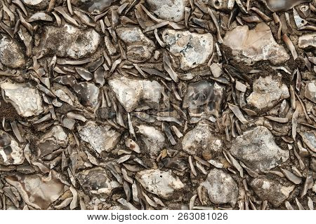 Close Up Detail Of A Flint Wall On The Goodwood Estate Near Chichester In England