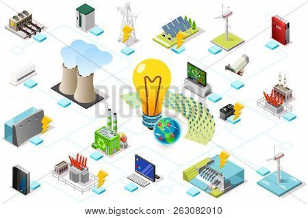 Power Grid Infographic, Generating Of Power Consumption. Energy Element On Line Transmission. Statio