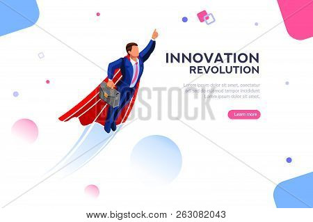 Technology Transformation From Digital Success To Income Up. Imagination And Innovation, Start-up Pl