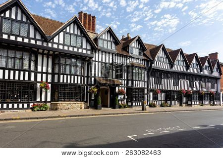 STRATFORD-UPON-AVON, ENGLAND - August 6, 2018: The Tudor-style 17th Century Mercure Shakespeare Hotel in Chapel Street, Stratford-upon-Avon.
