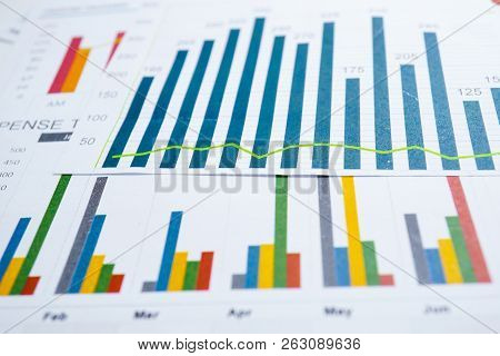 Charts Graphs Spreadsheet Paper. Financial Development, Banking Account, Statistics, Investment Anal