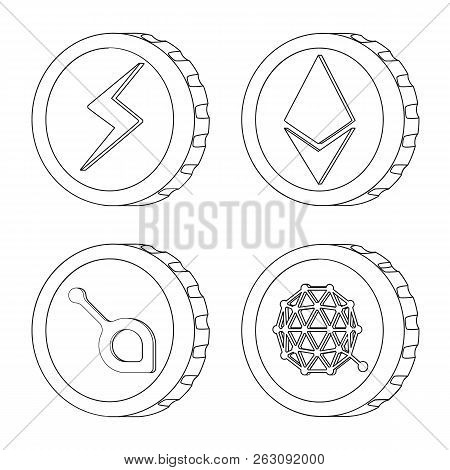 Isolated Object Of Cryptocurrency And Coin Sign. Set Of Cryptocurrency And Crypto Stock Vector Illus