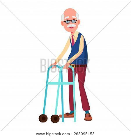 Old Man Poses Vector. Elderly People. Senior Person. Aged. Beaut