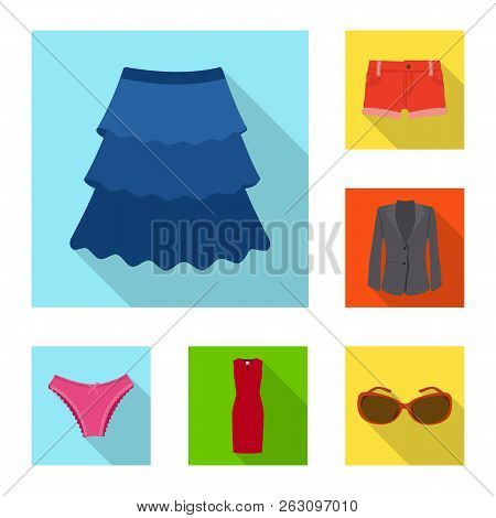 Vector Design Of Woman And Clothing Sign. Set Of Woman And Wear Vector Icon For Stock.