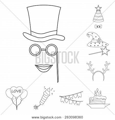 Vector Illustration Of Party And Birthday Logo. Collection Of Party And Celebration Vector Icon For