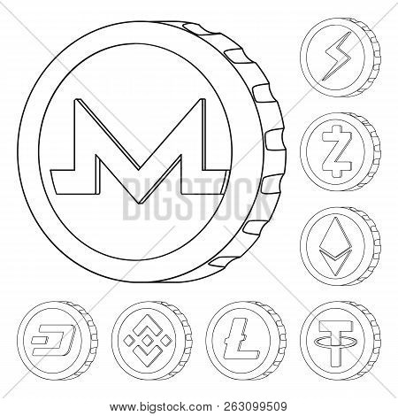Vector Illustration Of Cryptocurrency And Coin Logo. Collection Of Cryptocurrency And Crypto Vector