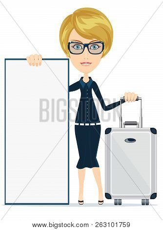 Woman Traveler With Suitcase And Blank Space For Text And Content Paper Art, Banner, Card, Poster. S