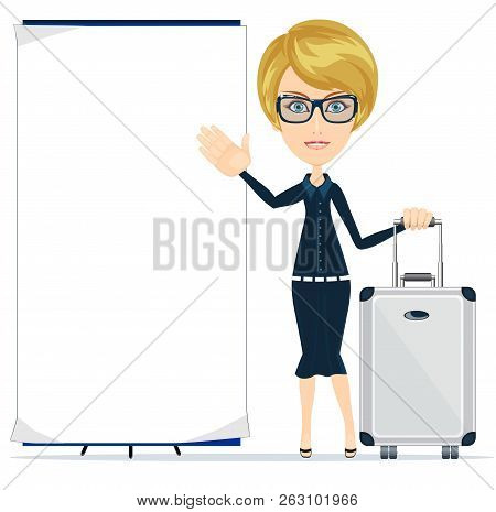 Young Happy Woman Standing With Suitcase And Blank Board. Stock Flat Vector Illustration.