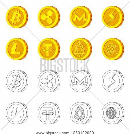 Isolated Object Of Cryptocurrency And Coin Symbol. Collection Of Cryptocurrency And Crypto Vector Ic