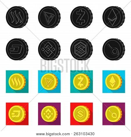 Vector Design Of Cryptocurrency And Coin Sign. Collection Of Cryptocurrency And Crypto Vector Icon F