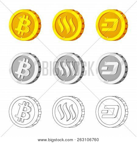 Isolated Object Of Cryptocurrency And Coin Logo. Set Of Cryptocurrency And Crypto Stock Vector Illus