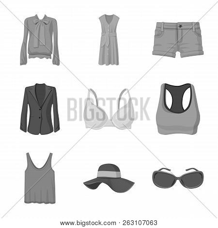 Isolated Object Of Woman And Clothing Icon. Collection Of Woman And Wear Stock Vector Illustration.