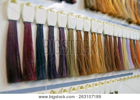Closeup Samples Of Multi-colored Shades Of Hair For Coloring