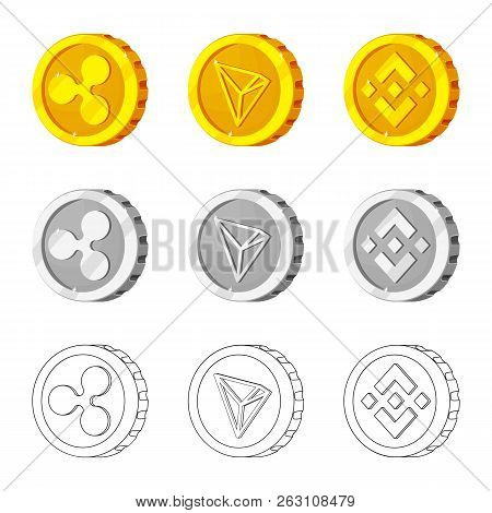 Vector Design Of Cryptocurrency And Coin Icon. Set Of Cryptocurrency And Crypto Stock Vector Illustr