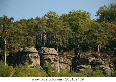 Certovy Hlavy Rock Formation In Zelizy Village In Czech Tourist Area Named Machuv Kraj On 28th Septe