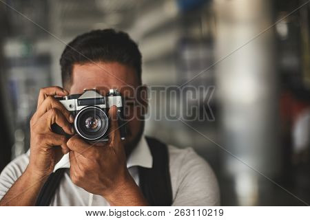 Close Up Of A Nice Man Making Photos