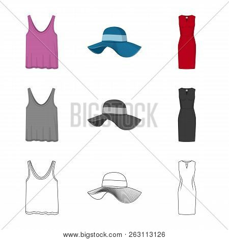 Isolated Object Of Woman And Clothing Sign. Collection Of Woman And Wear Vector Icon For Stock.