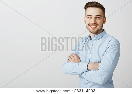 Ambitious Smart And Creative Handsome Young Male With Bristle And Stylish Hairstyle In Blue Collar S
