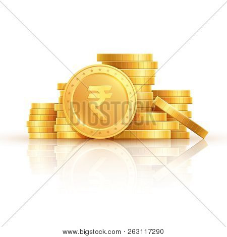 Gold Rupee Coins. Indian Money, Stacked Golden Coins. Rupee Cash, Currency Isolated On White Backgro