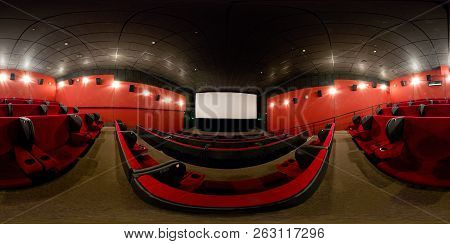 Moscow - Feb 9, 2012: 360 Degrees Full Panorama Of A Modern Cinema Hall. 360 Spherical View Of Movie
