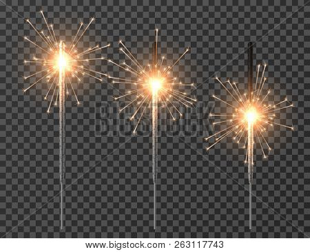 Bengal Light. Christmas Sparkler Lights, Diwali Firework Candle. Realistic Bengal Party Lights Vecto