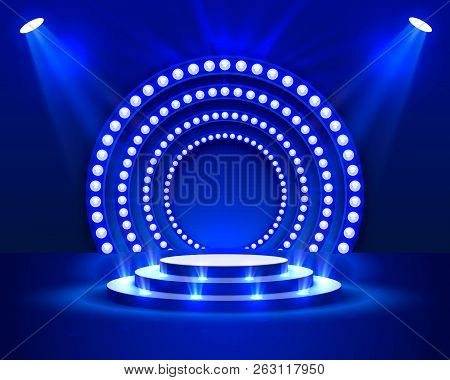Stage Podium With Lighting, Stage Podium Scene With For Award Ceremony On Blue Background, Vector Il