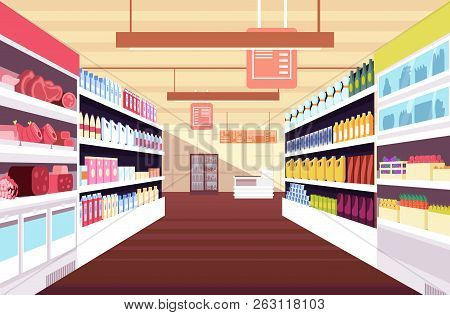 Grocery Supermarket Interior With Full Product Shelves. Retail And Consumerism Vector Concept. Illus