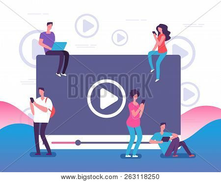 People Watching Online Video. Digital Internet Television, Web Videos Player Or Social Media Live St