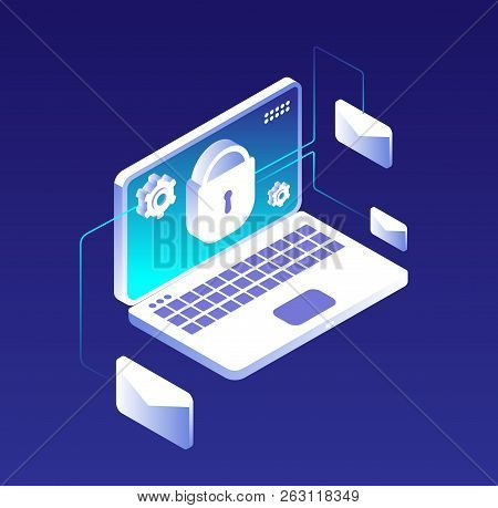 Data Protection Concept. Email Database Encryption, Computer, Information And Storage Security. Anti