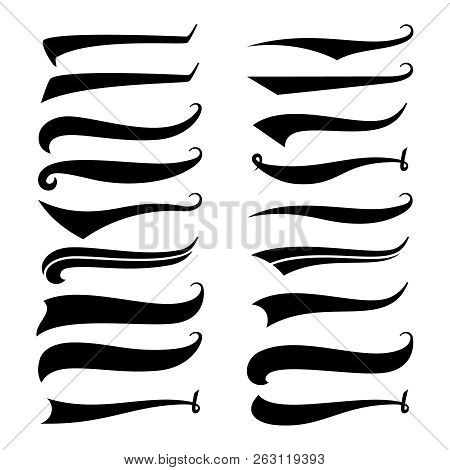 Texting Tails. Swirling Swash And Swoosh. Football And Baseball Logo Typography Vector Elements. Swi