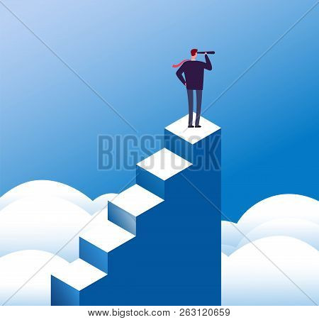 Business Vision Concept. Visionary Man Looks In Telescope At Steps Top. Opportunity And Leadership A