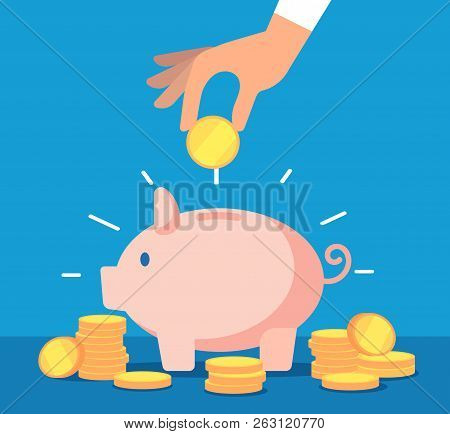Piggy Bank. Money Box With Falling Gold Coins. Deposit Banking Account And Cash Vector Business Conc